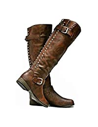 Yakoya Ladies Winter Platform Shoes Girls Buckle Rivets Knee High Motorcycle Boots Pumps Women