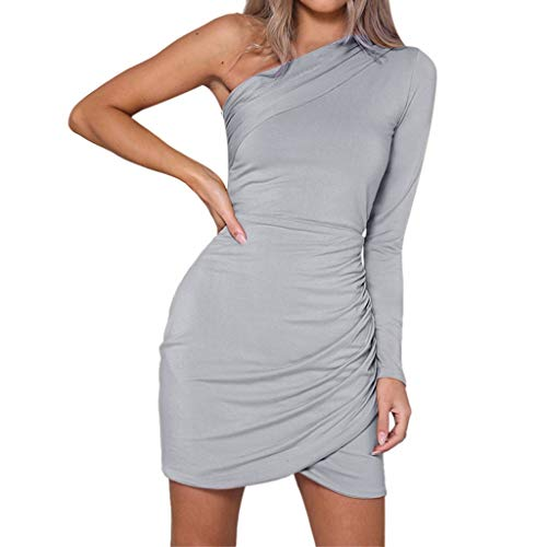 BEUU 2019 Women's Sexy Fashion Solid Color One-Shoulder Halter Wrap Mini Dress