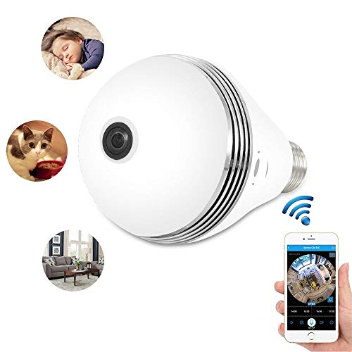 WiFi Light Bulb Camera IR Night Vision 360 Camera VR Panoramic Security Camera IP Camera 960P HD Hidden Camera 360 Degree Fisheye Lens Home Security System Android iOS APP