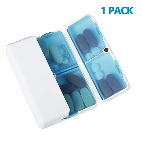 Magnetic Foldable Pill Box Case (1 Pack), Opret 7 Compartments Portable Pill Organizer for Travel 7 Day for Dose Pills & Vitamins Dustproof Damp Proof, FDA Certified BPA Free(Blue)