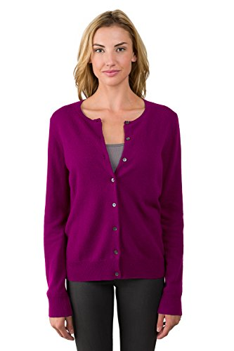 00% Cashmere Button Front Long Sleeve Crewneck Cardigan Sweater (S, Berry) ()