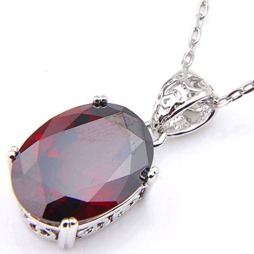 Panwa Jewelry Birthstone Natural Red Fire Garnet Platinum Plated Necklace Pendant + Free Chain