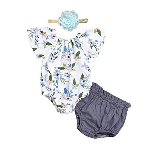 - Baby Girls Floral Romper,Newborn Bodysuit Jumpsuit Top+Shorts+Heaband 3pcs Outfits (Flower, 0-6M)