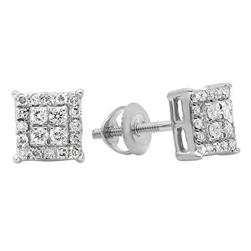 Dazzlingrock Collection 0.30 Carat (ctw) 10K Round White Diamond Ladies Square Shape Stud Earrings 1/3 CT, White - Earrings Square Accent Diamond