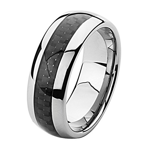 Wellingsale 8MM Luxe Series Comfort Fit Wedding Band Ring with Sporty Black Carbon Fiber Inlay and Smooth Rounded Edges for Men and Women in Size 12.5