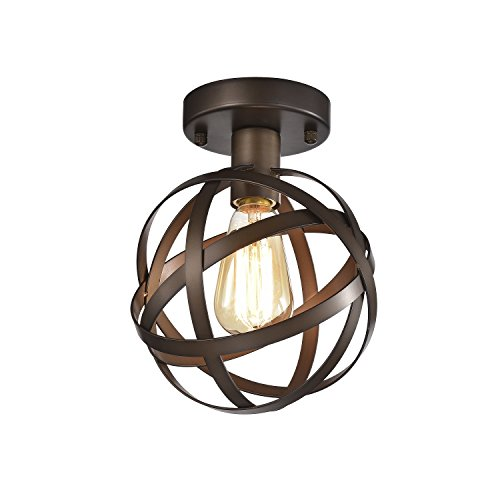 Mini Flush Mount Chandelier Lighting Bronze Orb Ceiling Light Fixture 1 Light HK42