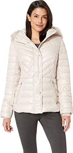 Kenneth Cole New York Women's Faux Fur Trimmed Short Puffer Bone Large ()