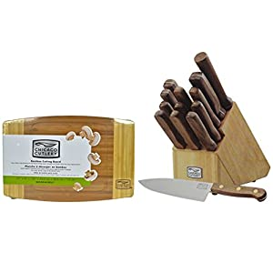 "Chicago Cutlery 14pc Walnut Tradition Knife Set & 12"" Bamboo Cutting Board"