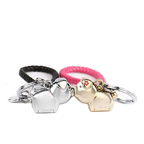MILESI Magnetic Destined Kissing Piggy Couples Keychains Cute Pendant Keyring Valentines Gifts Christmas Present for him and her