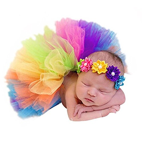 Fashion Newborn Girl Outfits Baby Photography Props Rainbow Tutu Skirts Flower -