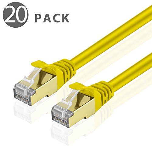 Cat5e Ylw Cbl Quality Computers (TNP Cat6 Ethernet Patch Cable (3 Feet)(20 Pack) - Professional Gold Plated Snagless RJ45 Connector Computer Networking LAN Wire Cord Plug Premium Shielded Twisted Pair (Yellow))