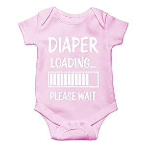 Crazy Bros Tees Diaper Loading… Please Wait Funny Cute Novelty Infant One-Piece Baby Bodysuit (6 Months, Pink)