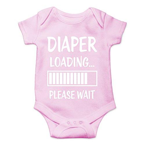 CBTWear Diaper Loading… Please Wait Newborn Dirty Diaper Humorous Babies Funny Cute Novelty Infant One-Piece Baby Bodysuit (6 Months, Pink)