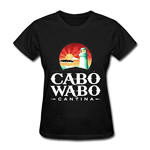 (Oyavdsznq Women's Cabo Wabo Slim Party Black Tee S Short Sleeve)