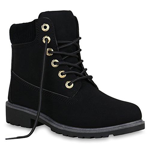 Stiefelparadies Damen Stiefeletten Outdoor Worker Boots Leicht Gefütterte Schuhe Flandell Schwarz Autol