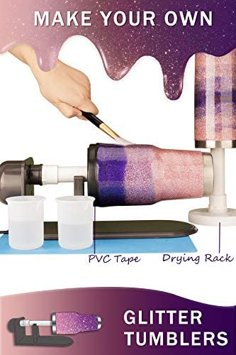 Fully Assembled Cup Turner for Tumbler - Cup Spinner Cuptisserie for Tumblers Crafts 10-35oz Normal Skinny with 2 Flexible Foams and Epoxy Tools Accessories
