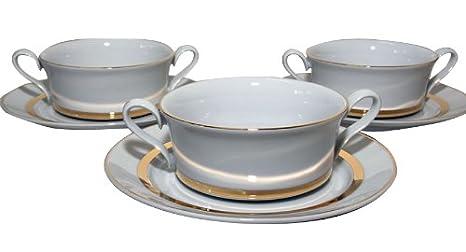 Santa Clara Mallorca Banda Oro Brillo - Set 6 Tazas consomé con plato: Amazon.es: Hogar
