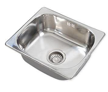 Square Stainless Steel Single One Bowl Small Kitchen Washing Sink 420 360mm