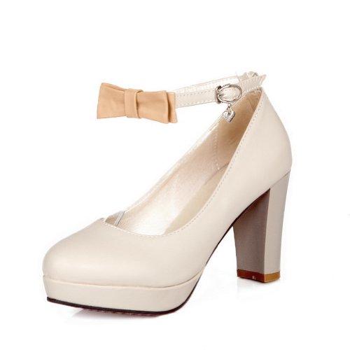 AllhqFashion Mujer Hebilla PU Material Suave Tacón Alto Puntera Redonda Zapatosdetacón Beige