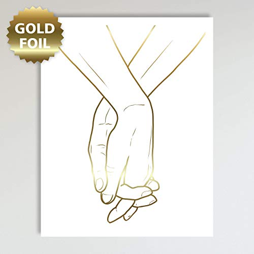 Hand Print Art (Holding Hands, Gold Foil Art Print, Abstract Hands Drawing, Contemporary Wall Art For Bedroom and Home Decor, Gold and White Modern Boho Art Print Poster For Her and Him 11x14)