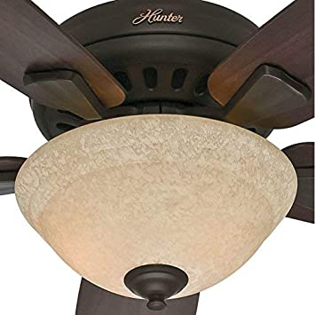 Hunter Indoor Ceiling Fan with light and pull chain control – Banyan 52 inch, New Bronze, 53176
