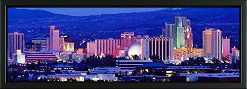 Easy Art Prints Panoramic Images's 'Reno, Nevada, USA' Premium Framed Canvas Art - 36