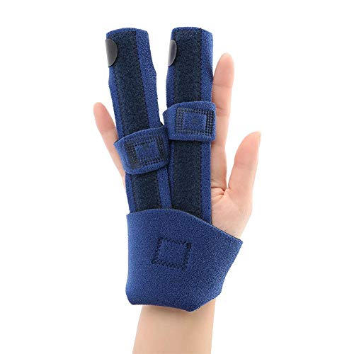(Double Finger Finger Splint, Adjustable Fixing Belt with Built-in Aluminium Support for Finger Tendon Release & Pain Relief)