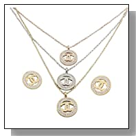 Think Positive Women's Stainless Steel Fashion Jewelry Sets 3 Chain Necklaces 3 Pendants Earrings Stud Rhinestone 3 Tones Steel-Gold-Rose Gold