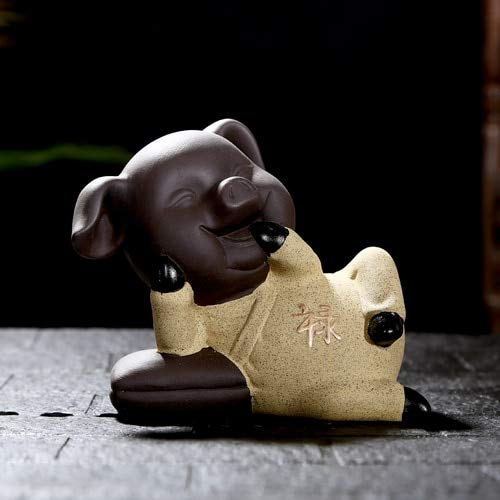 ZAMTAC Cute Changeable Pig Five Blessings Fu Lu Shou Xi CAI Boutique Lucky Tea Pet Purple Clay Tabletop Feng Shui Ceramic Home Decor - (Color: Lu)