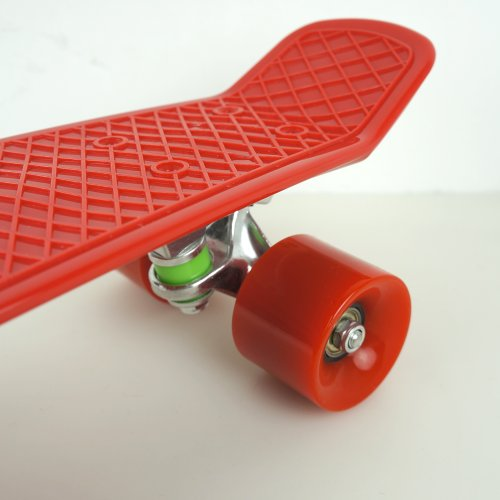 "Welcomeget Vinyl Plastic Cruiser Skateboard Complete 22"" Stereo-Sonic Tail Red/Red"