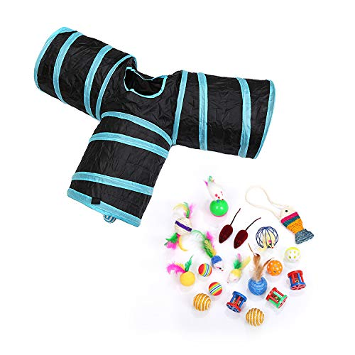 Cat Tunnel 3 Way and Assorted Cat Toys for Adult Cats and Kittens, Mice, Jingle Bells, Feather Toys, Crinkle ()