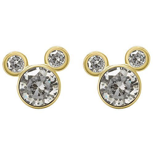 Disney Mickey Mouse Women Jewelry, 10k Yellow Gold Cubic Zirconia Stud Earrings Mickey's 90th Birthday Anniversary Classic Mickey Mouse Earrings
