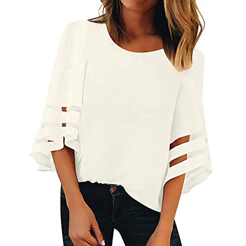 (Women Fashion Loose Colleage Student Blouse Casual O-Neck 3/4 Bell Mesh Panel Sleeve Shirt Tops Summer Comfy Tops White)