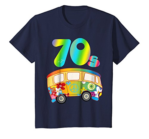 Kids COOL FUNKY 70s Hippie Bus Shirt Party Outfit Toddler Gift 4 Navy -