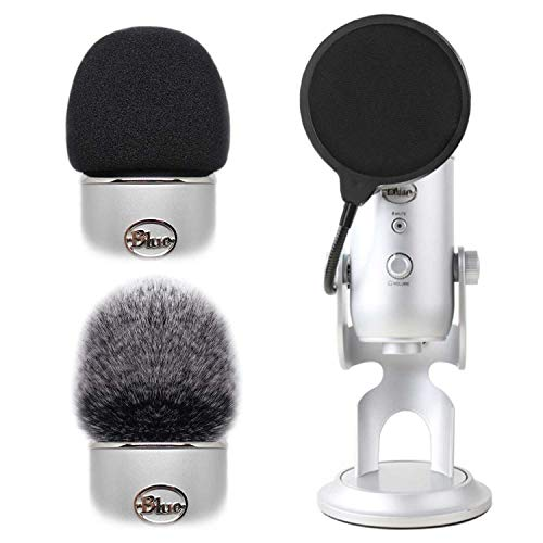 2pcs Professional Microphone Furry Windscreen Foam Wind Cover Muff + Pop Filter Shield Dual Layered Noise Reduction Compatible with Mic Blue Yeti & Blue Yeti Pro
