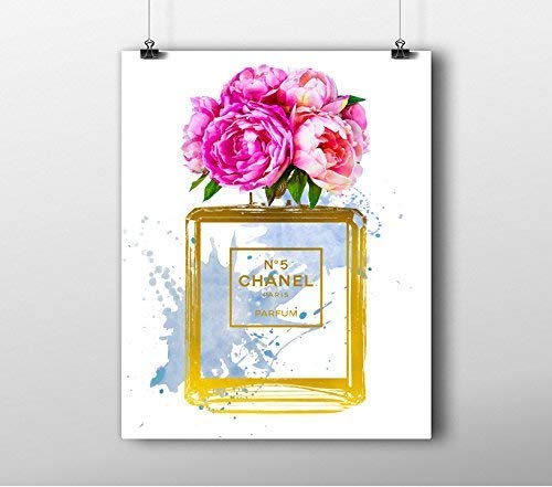 Wall Art Fashion wall art print - Illustration - Perfume Bottle Water Color- Gold Foil- Chic Glam Vogue poster size: 8