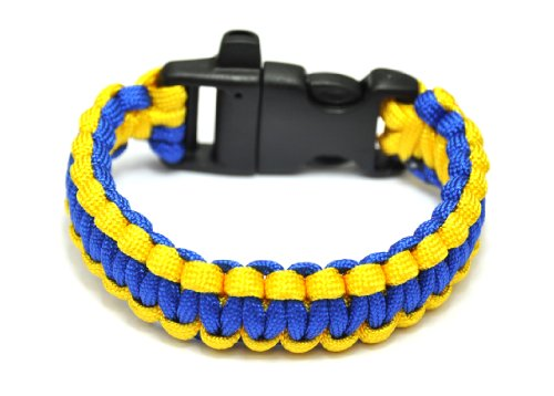 HUMASOL Extra Beefy / Wide 300 lb Paracord Survival Bracelet With Whistle Buckle / Stainless Metal Bow Shackle