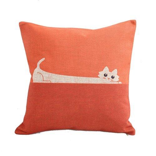 Cotton Fabric Pillow (NYKKOLA Home Decor Sofa Orange Cat Cotton Throw Pillow Cover 18X18'')