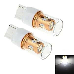GD 2pcs 7440 8w 8x samsung 2323 SMD 450lm 6000k LED de luz blanca para la vuelta del coche de dirección / luz de marcha atrás (12-24 dc)