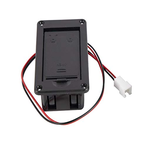 9V Battery Box Case Holder with Metal Contacts Spring & 2 Pin Plug for Active Guitar Bass Pickup