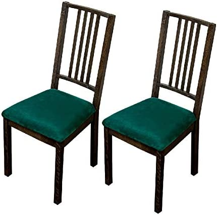 Amazon Com Argstar 2 4 6 Pack Velvet Dining Chairs Seat Cover Velvet Chair Seats Cover For Dining Room Kitchen Chair Cushion Cover Set Of 2 Green Home Kitchen