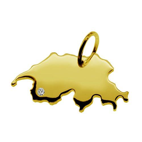 Endroit Exclusif Suisse Carte Pendentif avec brillant à votre Désir (Position au choix.)-massif Or jaune de 585or, artisanat Allemande-585de bijoux
