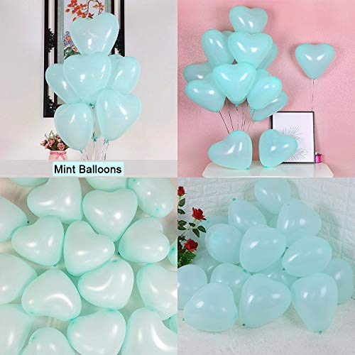 Green Heart Latex - tomandken Party Pastel Balloons 100 pcs 12 inch Macaron Heart Latex Balloons for Birthday Wedding Engagement Valentine's Day Anniversary Party Decorations-Mint Balloons