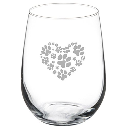 17 oz Stemless Wine Glass Love Animals Heart Paw Prints