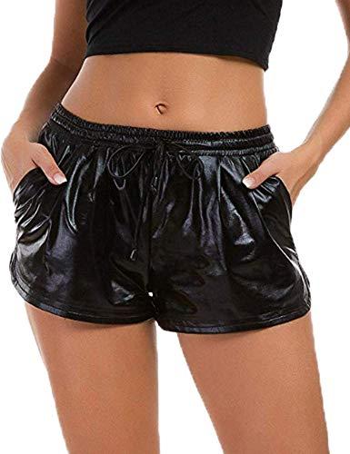 Ekouaer Shine Hot Shorts Party Halloween Costume Shorts with Pocket Black -