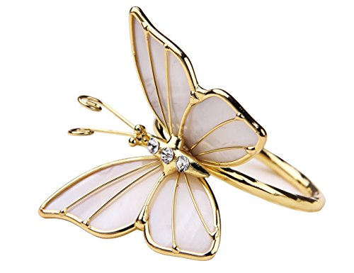 (JINHAICHU Butterfly Napkin Rings Set of 2 Metal Table Napkin Rings Shell Rhinestone Napkin Rings Modern Napkin holder rings for Wedding Party Table Decor Gift (Gold))