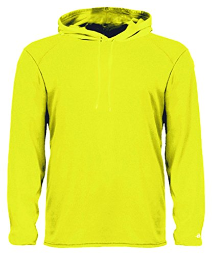 (Badger Men's B-Core Sports Double-Needle Drawcord Hem Hoodie, X-Large, Safety Yellow/Green )