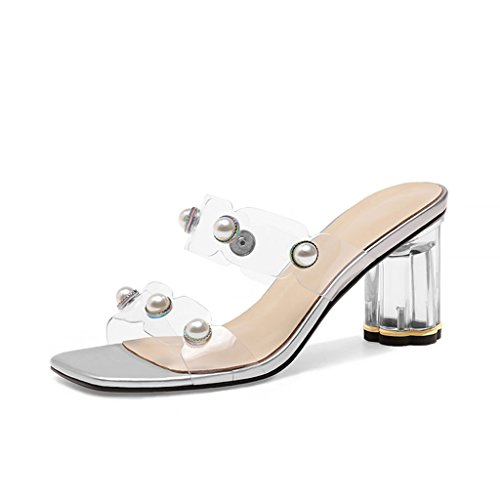 Heel Heel Toe Silver TPU Summer Open Pearl Fashion Rough Crystal Slippers Upper Sandals Female IfPw01Zxqx