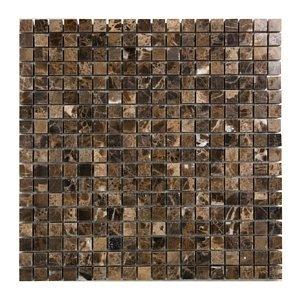 (Dark Emperador 5/8 X 5/8 Polished Marble Mosaic Tile)