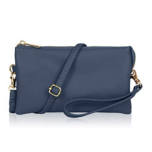 (Convertible Vegan Leather Wallet Purse Clutch - Small Handbag Phone/Card Slots & Detachable Wristlet/Shoulder/Crossbody Strap (Navy))